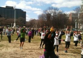 Get Fit Day participants exercising on the Green